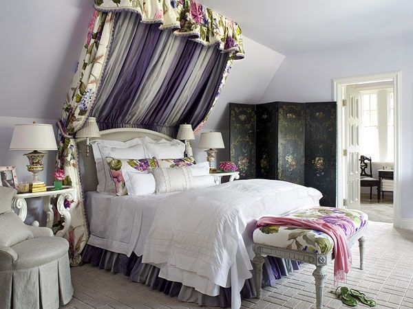 Love the draping over the bed