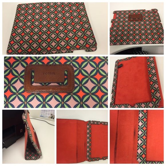 Fossil leather IPAD case Fossil leather IPAD case. Has a few spots on the inside of the leather as shown. Please note this will not fit the new IPAD Air Fossil Bags Laptop Bags