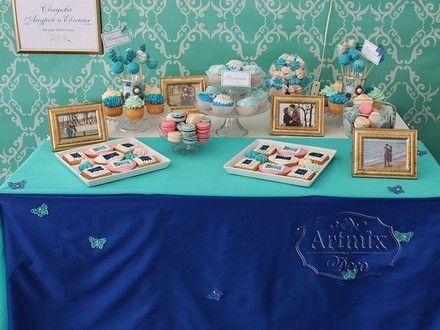 Оформление свадеб. Кенди бар в едином стиле с фотозоной на свадьбе. Синий и аквамариновый цвет в оформлении Кенди бара и фотозоны