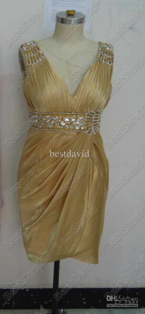 Custom Made Gold Short Sparkling Cocktail Dresses Uk Empire V-shaped Beads Sequins Above Knee 35067C