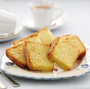 Squares of cake on a blue and white china plate