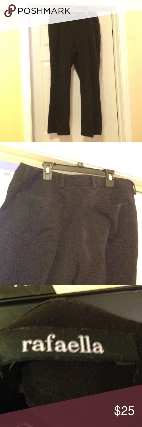 Rafaella Black Pants Rafaella Black Pants, size 14. Polyester, Rayon, spandex. Great for weekend wear. Paid $50 at Belk! Excellent condition! Rafaella Pants Trousers