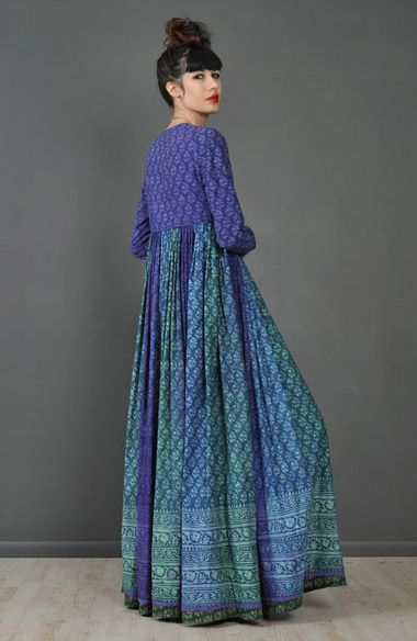 1970s, Indian hand dyed batik ombré maxi dress.  Fashion, boho, hippy, hippie