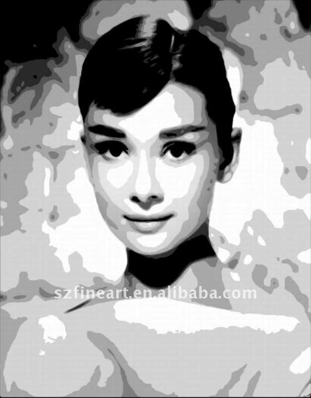 Hot Sale High Quality Famous Black And White Paintings Of Audrey Black And White Painting White Painting Black And White Portraits