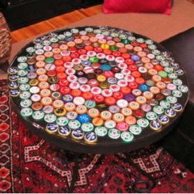 Beer bottle cap table top tutorial. I wanna do this with my