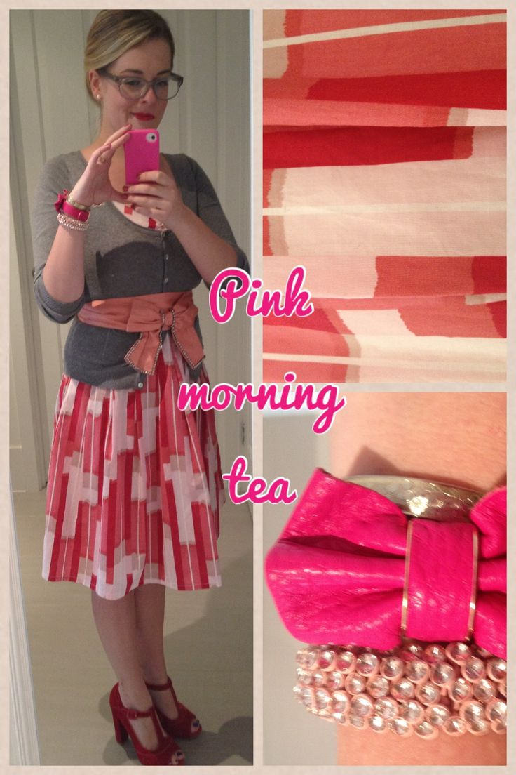 Day 28: pink morning tea at work. Portmans dress, old cardigan, Alannah Hill belt and Wittner shoes.