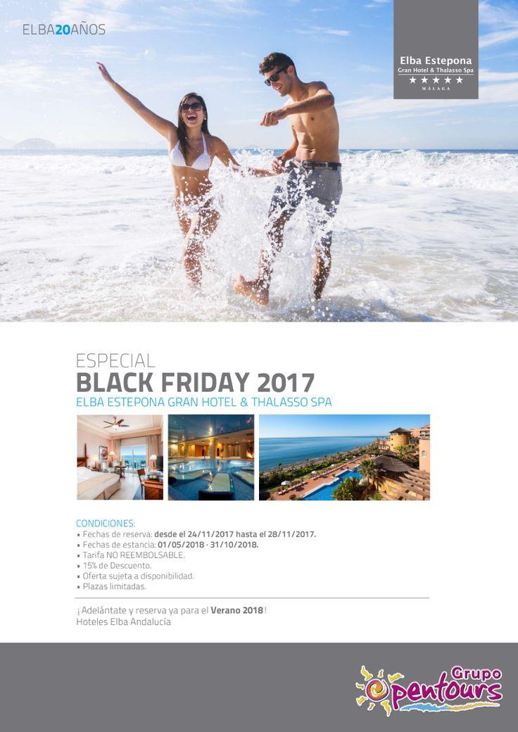Hotel Elba Estepona ***** (Estepona, Málaga) --- Especial BLACK FRIDAY ------> 15% de descuento --- Reservas del 24 al 28 de Noviembre, para estancias del 01 de Mayo al 31 de Octubre de 2018 --- Más info y condiciones de esta oferta en www.opentours.es --- #elbaestepona #estepona #malaga #costadelsol #andalucia #blackfriday #verano2018 #escapadas #ofertas #hoteles #agentesdeviajes #agenciasdeviajes #opentours #grupoopentours