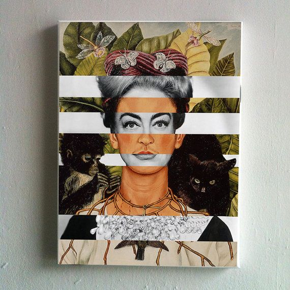 Canvas of Frida Kahlo's Self-Portrait with Thorn by KingOfMashUps