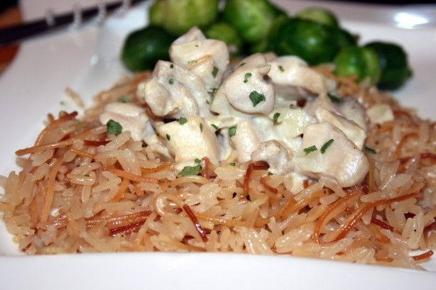 This is a totally simple way of making great rice pilaf.  This recipe was originally on Rachael Rays 30 Minute Meals.  I usually double this recipe for my family of four big eaters.