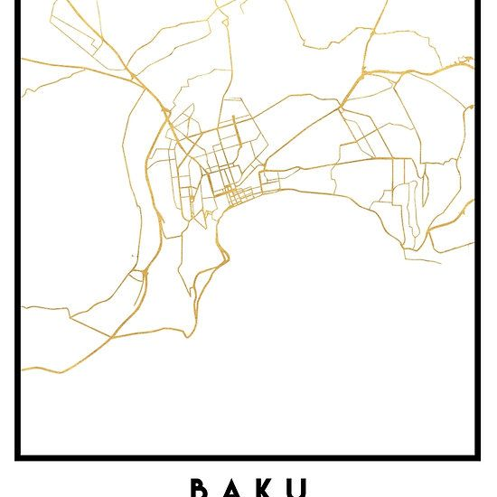 BAKU AZERBAIJAN CITY STREET MAP ART -   An elegant city street map of Baku, Azerbaijan in gold, with the exact coordinates of the city, make up this amazing art piece. A great gift for anybody that has love for this city. You can never go wrong with gold. I love my city.