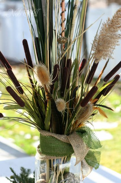 Thanksgiving - Duck Dynasty Style Floral Arrangements; Thistles, dry grasses, cattails and feathers.