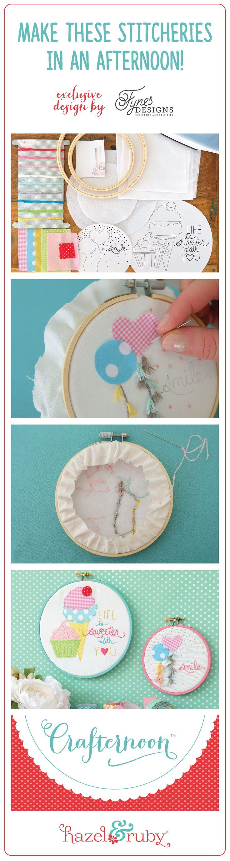 Crafternoon Embroidery Hoop Art Kit On Sale Now
