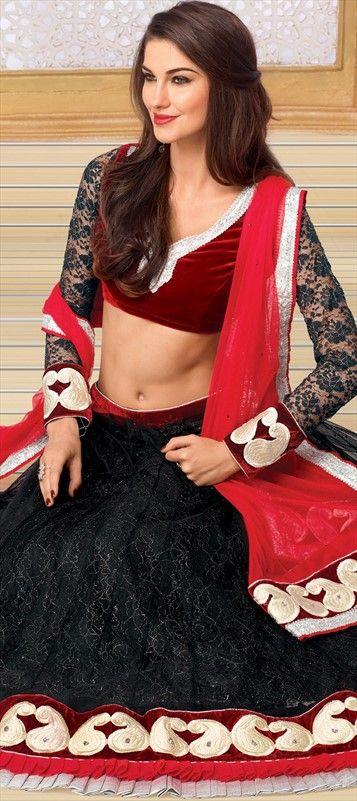 131171, Mehendi & Sangeet Lehenga, Net, Stone, Thread, Lace, Resham, Black and Grey Color Family