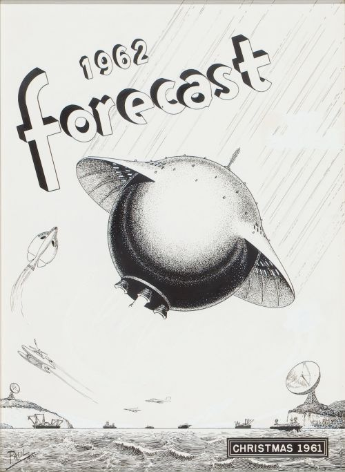 "posthorn: "" Forecast magazine cover by Frank R. Paul, ink on paper. """