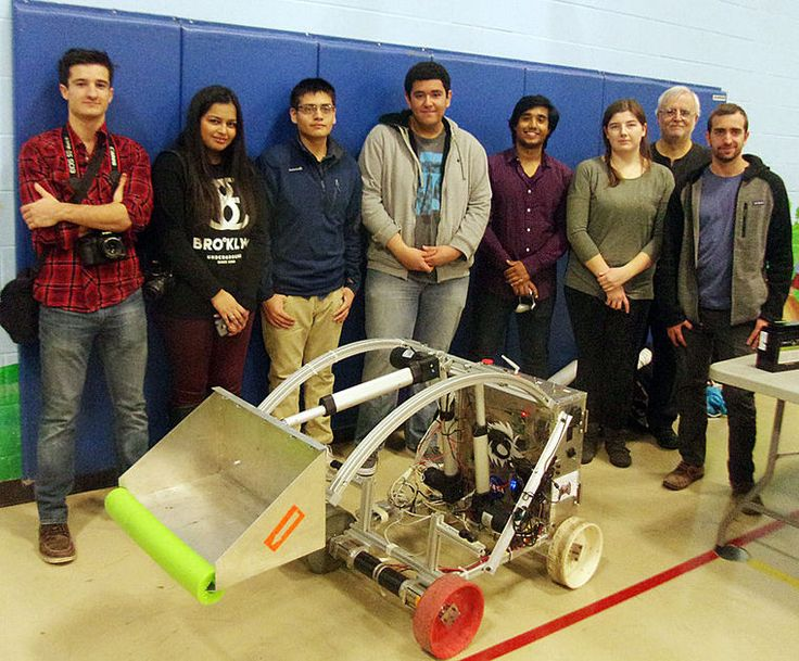 Student engineers at Oakton Community College visited Roosevelt School's Science Fair in Park Ridge on Jan. 22 to demonstrate their new robot and put it through some preliminary paces.