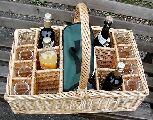 Picnic Baskets : Wine Baskets : Wicker Wine Hamper with Eight Glasses and Ice…