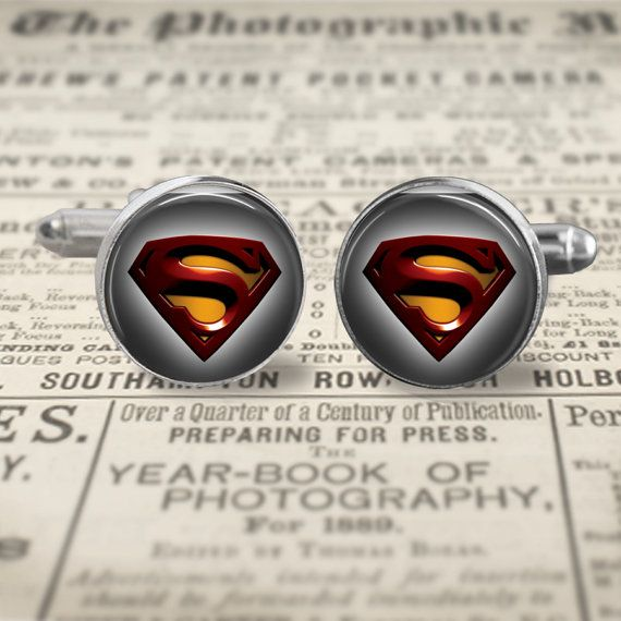 Superman Cuff Links, Man of Steel Cufflinks, Superman Jewelry, Superhero Cufflinks Gift for Men, Accessories for Men