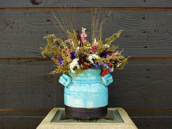 Primitive Blue Pottery Crock with Rustic by SmokyMtnWoodcrafts, $39.00
