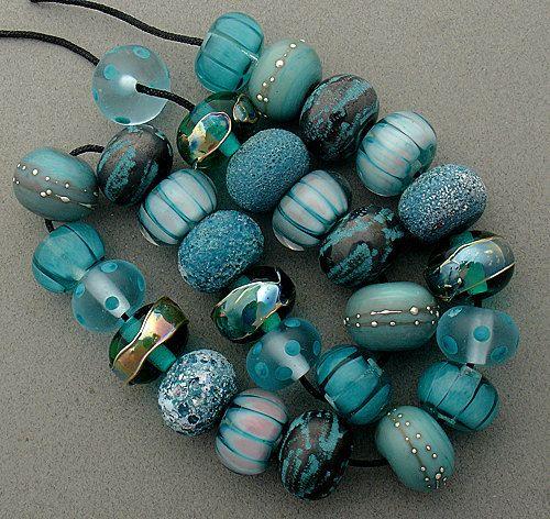 dsg beads handmade organic lampwork glass pretty aqua made to order