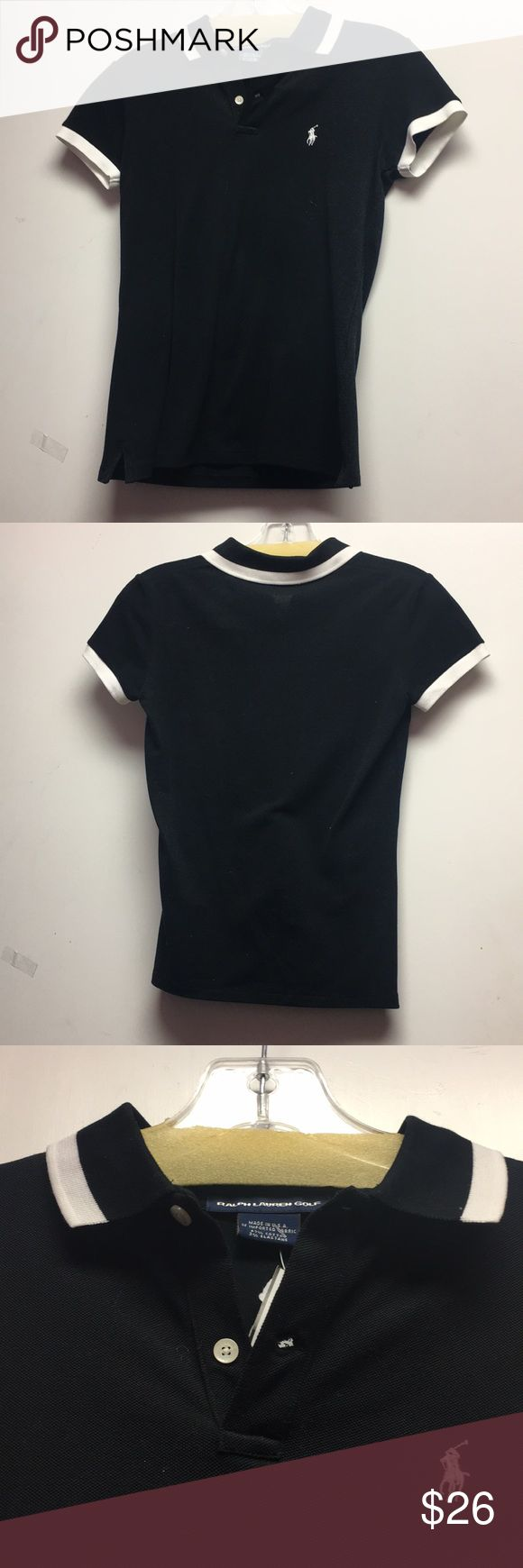 Ralph Lauren Black ladies polo shirt XS Ralph Lauren Black ladies polo shirt XS. Black tshirt with white stripe lining on collar and on tips of sleeves. White logo in right corner. Has two buttons that button all the way up. Soft cotton material. Back is solid black. Gently used and in good condition. Consigned to my boutique-no trades! Ralph Lauren Tops Tees - Short Sleeve