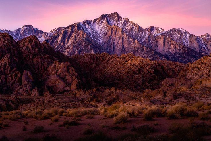 Pre-dawn light illuminates Lone Pine Peak and the Alabama Hills, CA [2150x1433] #nature and Science