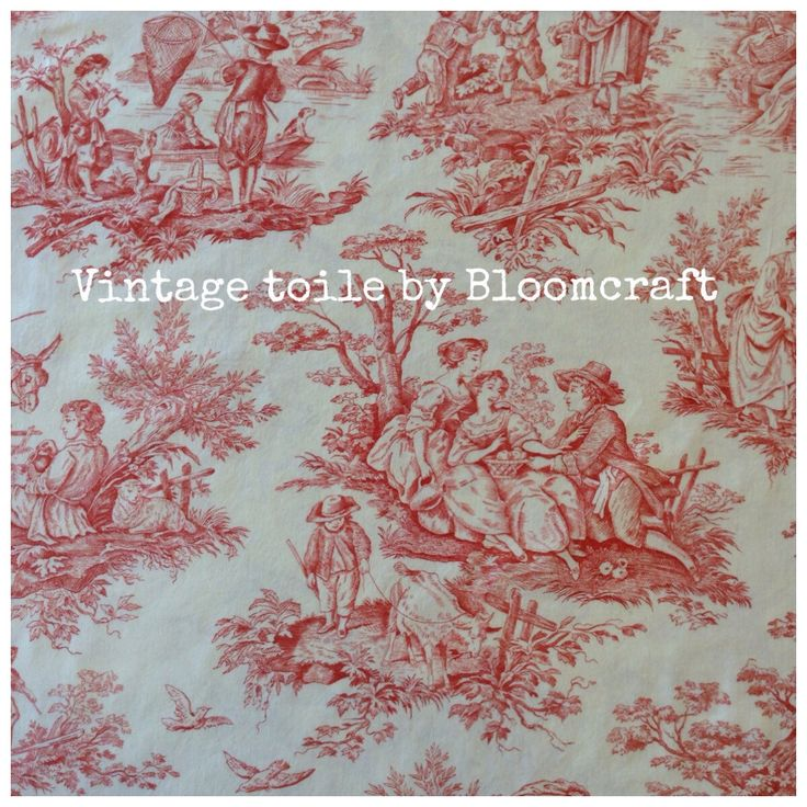 A personal favorite from my Etsy shop https://www.etsy.com/listing/469897372/vintage-toile-de-jouy-red-on-cream