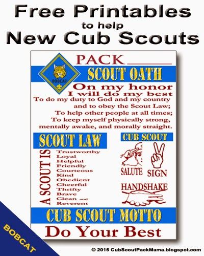 Free Printables for Cub Scouts earning Bobcat