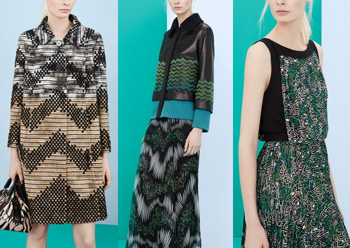 Missoni – Pre Fall 2014-Textured Repeats – Intense Pattern Build-ups – Linear Doodle Repeats – Irregular Stripe Forms
