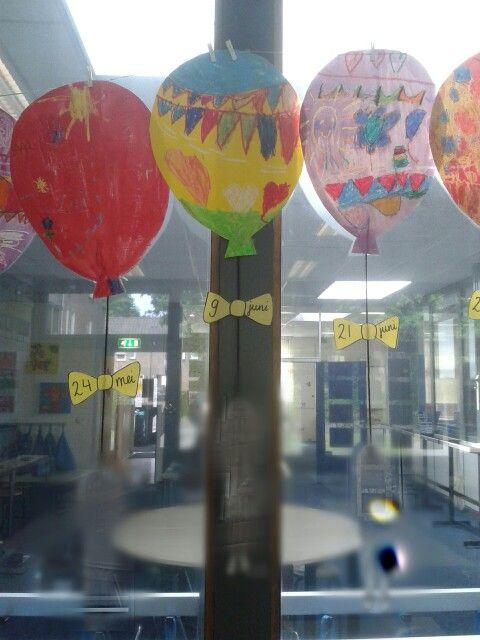 Verjaardagskalender van ballonnen. Ballon met wasco laten kleuren, later met ecoline erover heen. Foto van lln. maken met hun handen omhoog (alsof ze de ballon denkbeeldig vasthouden) met een lintje eraan bevestigen en op het strikje de datum.