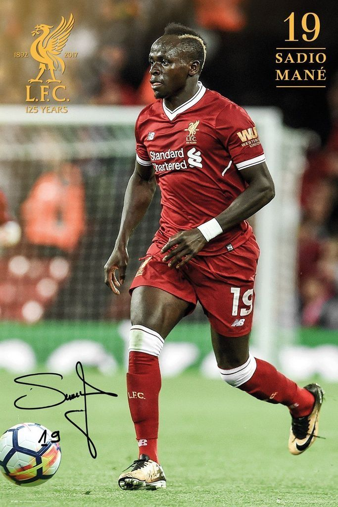 Sadio Mane Liverpool Football Club FC F.C. 17/18 Poster Print Wall Art Large Maxi