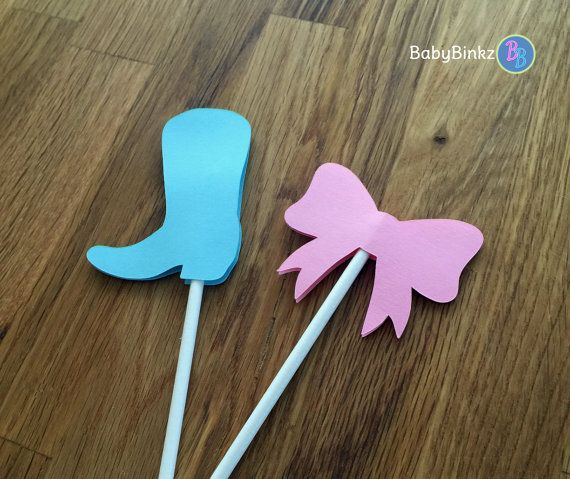 Cupcake Toppers: Boots or Bows Gender Reveal Party Boots or Bows Baby Shower - Die Cut Pink Girl Hair Bow & Blue Boy Cowboy Boots by BabyBinkz