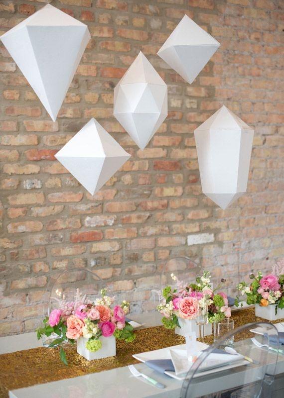Beautiful paper geometric shapes - hanging pendants