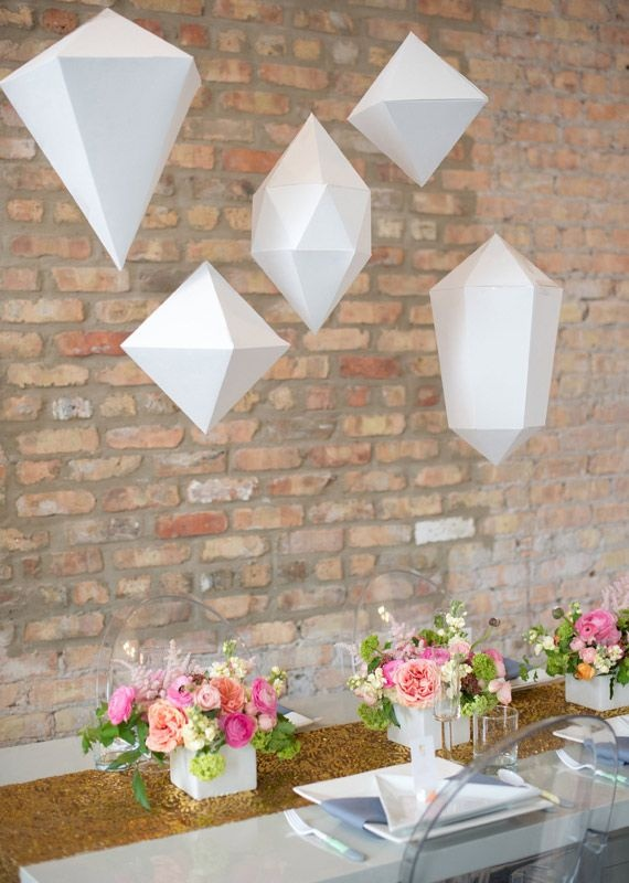 Beautiful paper geometric shapes - hanging pendants
