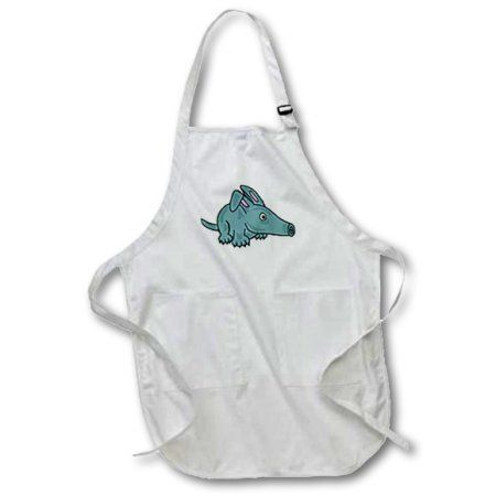 3dRose Funny Cute Blue Aardvark Cartoon , Full Length Apron, 22 by 30-inch, White, With Pockets