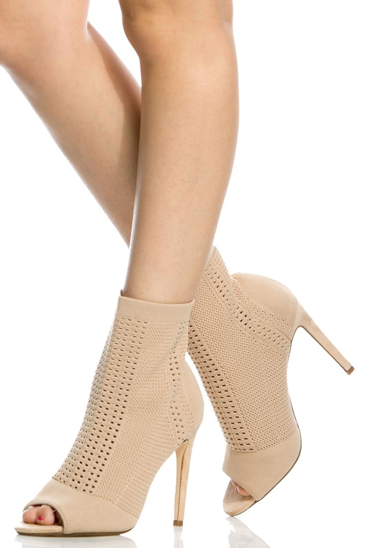 Nude Knit Peep Toe Single Sole Heels @ Cicihot Heel Shoes online store sales:Stiletto Heel Shoes,High Heel Pumps,Womens High Heel Shoes,Prom Shoes,Summer Shoes,Spring Shoes,Spool Heel,Womens Dress Shoes