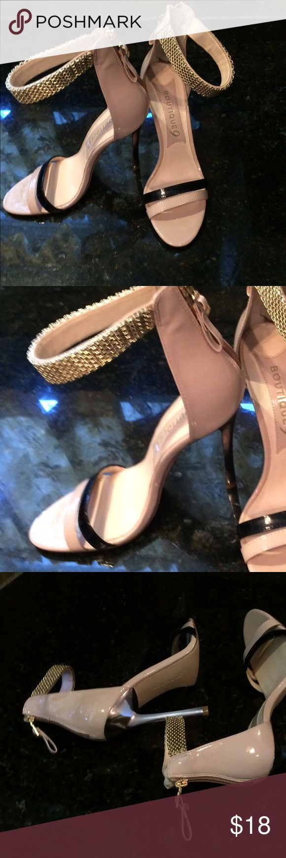 Ankle strap heels Gold 4 1/2 heel sandal shoe. Back zipper taupe and black patent leather, gold strap. Beautiful with a gown. Excellent condition. Boutique 9 Shoes Heels