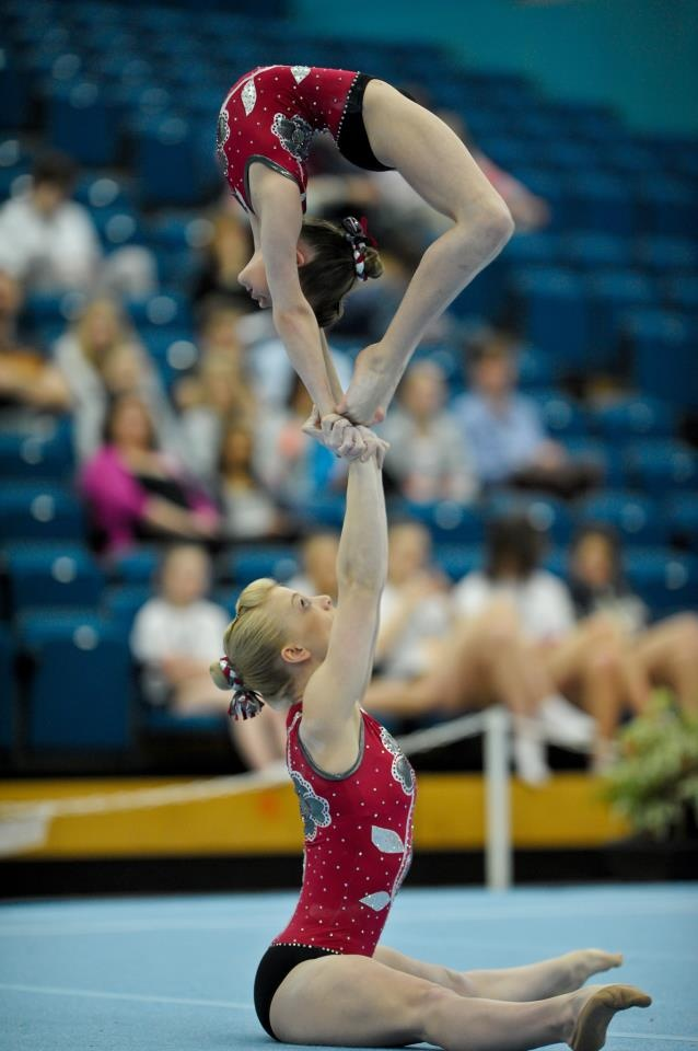 BRITISH GYMNASTICS PHOTO OF THE WEEK: We love this photo of Gabrielle Cousins and Chloe Gunter at this years 2012 Acro British Championships. Very impressive!