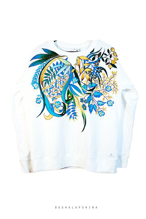 Hand painted White Sweatshirt Blue and Gold от SpringHoliday