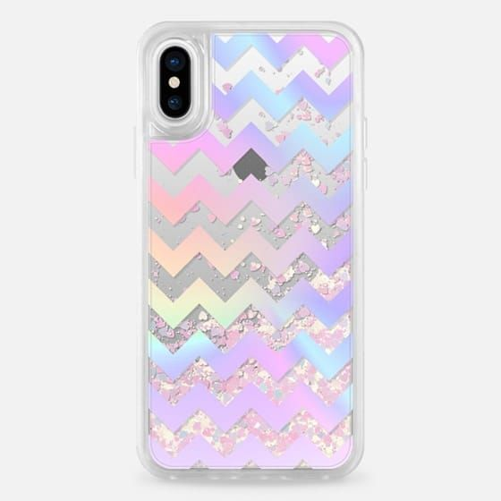 Casetify iPhone X Liquid Glitter Case - Pastel Rainbow Chevron Transparent by Organic Saturation