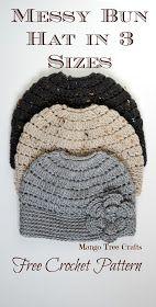 Mango Tree Crafts: Messy Bun Hat Free Crochet Pattern in 3 Sizes