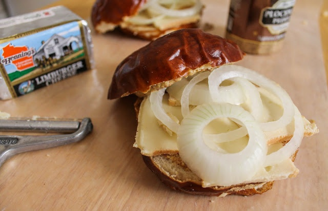 The Quixotic Table: Pretzel Roll with Limburger and Vidalia Onion - A classic Wisconsin cheese sandwich revisited