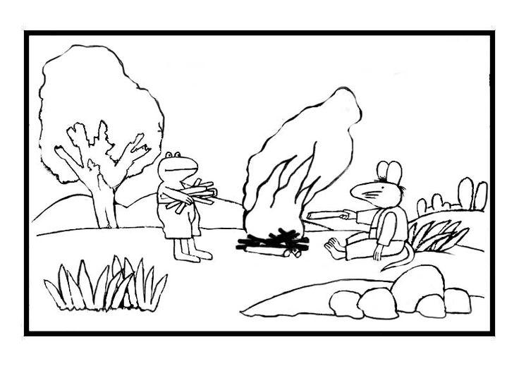 kikker en rat bij het kampvuur