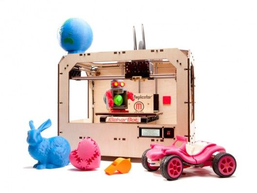 the 'maker bot' - prints small bits and pieces but the next step being developed will print you a house out of concrete!