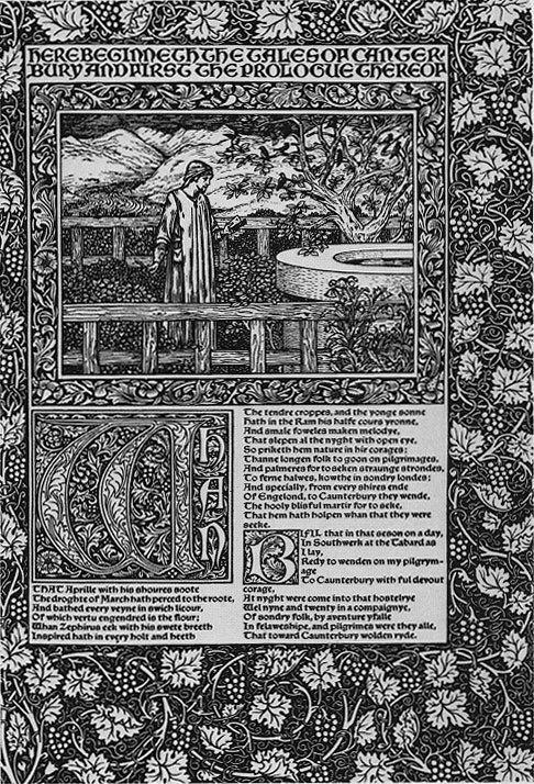 """Вёрстка """"Кентерберийских рассказов"""" Чосера (Уильям Моррис), оформление поэм Данте Россетти и виньетки Обри Бёрдслея к """"Смерти Артура""""."""