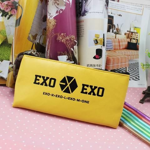 EXO Korean Boy Group School Canvas PU Leather Yellow Pencil Case. #EXO #Korean #BoyGroup #School #Canvas #PULeather #Yellow #PencilCase
