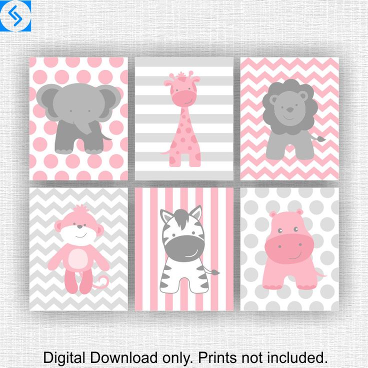 Pink and Gray Jungle Animals nursery Printable Elephant