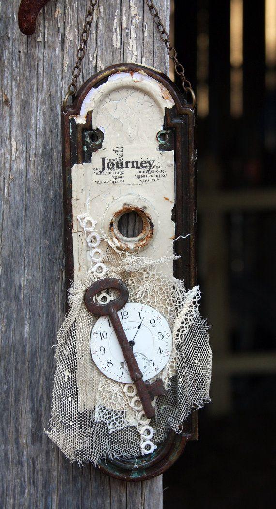 Escutcheon Plate Door Hardware Assemblage Art Watch Face