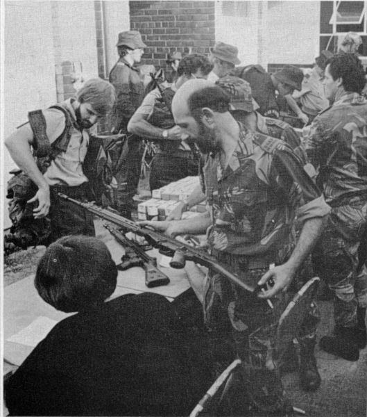 """Reservists of the BSAP (British South Africa Police); Rhodesia, 1970s. many of these men (and women as well) were farmers who as members of the police reserve fought to protect their homes and farms during the Rhodesian """"Bush War."""" From: The Farmer At War - Rhodesia"""