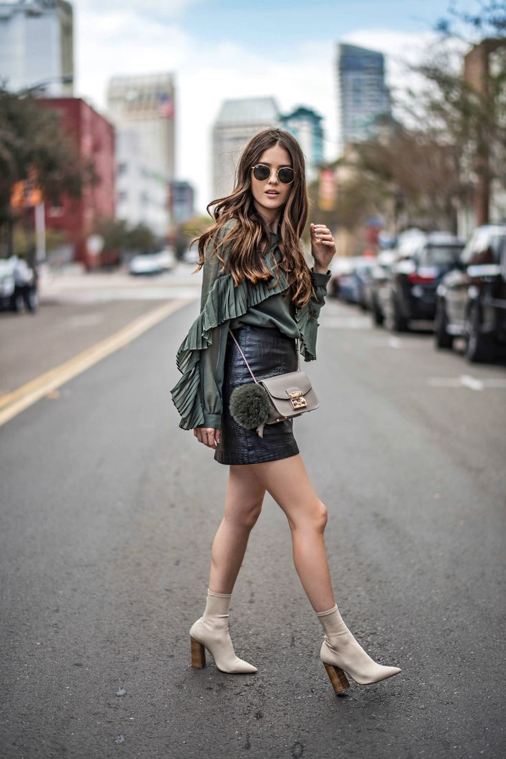 Blank Itinerary (Paola Alberdi) / muted green + black skirt + of-the-moment sock boot