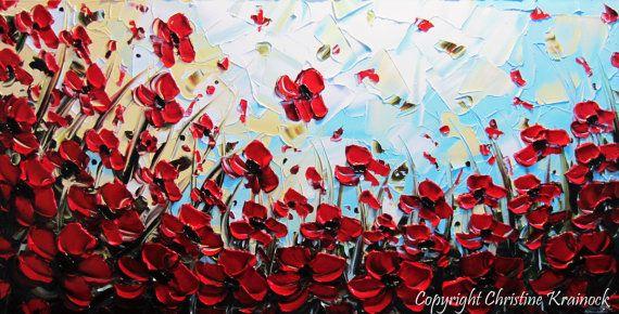 Original Art Abstract Painting Red Poppies by ChristineKrainock